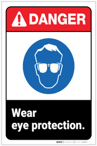 Danger: PPE Wear Eye Protection ANSI with Icon Portrait - Label