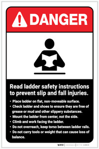 Danger: Read Ladder Safety Instructions to Prevent Slip and Fall Injuries ANSI with Icon Portrait - Label