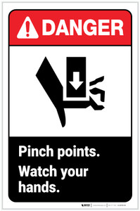 Danger: Pinch Points - Watch Your Hands ANSI with Icon Portrait - Label