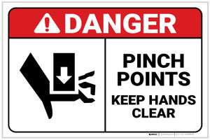 Danger: Pinch Points - Keep Hands Clear ANSI with Icon Landscape - Label