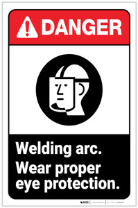 Danger: Welding Arc - Wear Proper Eye Protection with Icon Portrait - Label