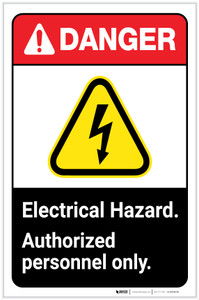 Danger: Electrical Hazard - Authorized Personnel Only ANSI with Hazard Icon Portrait - Label