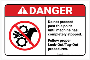 Danger: Do Not Proceed Past This Point - Follow Proper Lockout-Tagout ANSI Landscape - Label