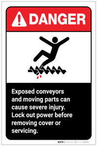 Danger: Exposed Conveyors and Moving Parts Can Cause Injurty ANSI Portrait - Label