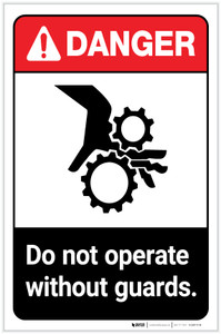 Danger: Do Not Operate Without Guards ANSI with Icon Portrait - Label