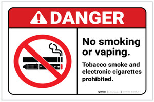 Danger: No Smoking/Vaping - Tobacco and Electronic Cigarettes Prohibited ANSI with Icon Portrait - Label
