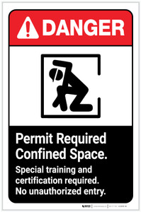 Danger: Permit Required Confined Space - Special Training and Certification Required ANSI Portrait - Label
