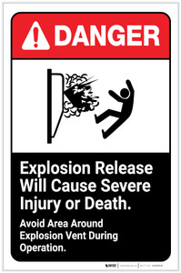 Danger: Explosion Release Will Cause Severe Injury or Death ANSI Portrait - Label