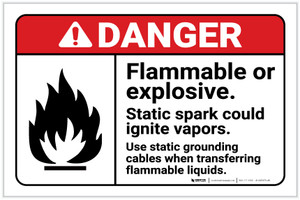 Danger: Flammable Explosive Static Spark Could Ignite Vapors ANSI Landcape - Label