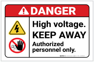 Danger: High Voltage Keep Away Authorized Personnel Only ANSI with Icons Landscape - Label