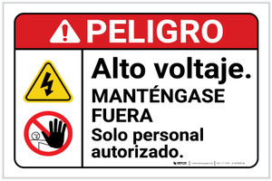 Danger: High Voltage Stay Out Personnel Only Hazard with Graphic Spanish ANSI Landscape - Label