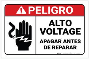 Danger: Spanish High Voltage Turn Power Off Servicing Spanish ANSI Landscape - Label