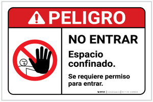 Danger: Permission is Required to Enter with Graphic Spanish ANSI Landscape - Label