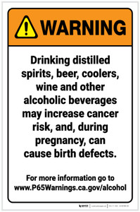 Warning: Alcoholic Beverage Exposure Prop 65 Portrait - Label