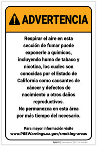Warning: Designated Smoking Area Spanish Prop 65 Portrait - Label
