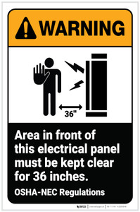 Warning: Area in Front of Electrical Panel Must be Kept Clear ANSI Portrait - Label