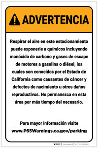 Warning: Enclosed Parking Facility Spanish Prop 65 Portrait - Label