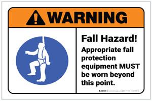 Warning: Fall Hazard Wear Appropriate PPE ANSI Landscape - Label