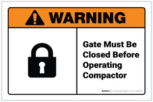 Warning: Gate Must Be Closed Before Operating Compactor ANSI Landscape - Label