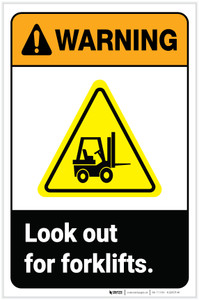 Warning: Look Out For Forklifts ANSI with Hazard Icon Portrait - Label