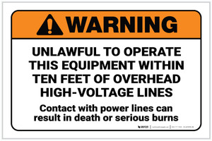 Warning: Unlawful to Operate This Equipment Within 10 Feet ANSI Landscape - Label