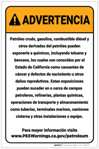 Warning: Petroleum Products Exposure Spanish Prop 65 Portrait - Label