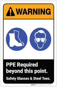 Warning: PPE Required Beyond This Point - Safety Glasses Steel Toes ANSI with Icons Portrait - Label