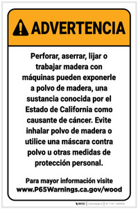Warning: Raw Wood Exposure Spanish Prop 65 Portrait - Label