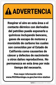 Warning: Service Station Exposure Spanish Prop 65 Portrait - Label