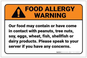 Warning: Speak To Your Server Food Allergy ANSI Landscape - Label