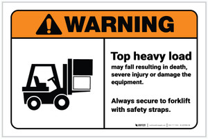 Warning: Top Heavy Load Forklift Safety ANSI with Icon Landscape - Label
