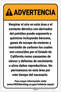 Warning: Vehicle Repair Facilities Spanish Prop 65 Portrait - Label