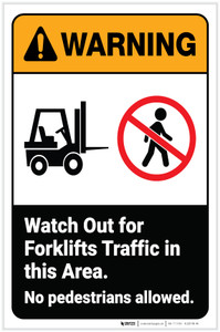 Warning: Watch Out For Forklift Traffic in Area ANSI with Icon Portrait - Label
