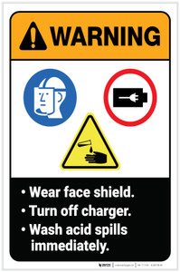 Warning: Wear Faceshield/Turn Off Charger/Wash Acid Spills ANSI with Icon Portrait - Label