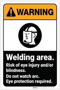 Warning: Welding Area Wear Eye Protection ANSI Portrait - Label