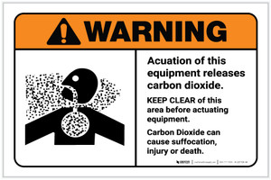 Warning: Actuation Equipment Releases Carbon Dioxide Keep Clear Landscape - Label