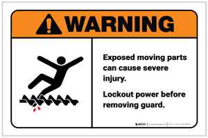 Warning: Exposed Moving Parts Can Cause Injury Landscape - Label