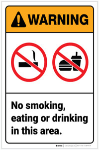 Warning: No Smoking/Eating/Drinking in This Area with Icons Portrait - Label