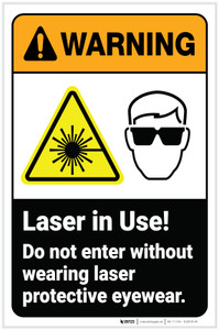 Warning: Laser Do Not Enter Without Protective Eyewear Portrait with Icon - Label