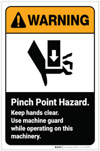 Warning: Pinch Point Hazard Keep Hands Clear with Icon Portrait - Label