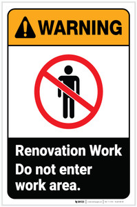 Warning: Renovation Work Do Not Enter Work Area With Icon Portrait - Label