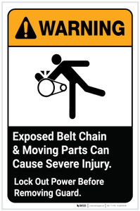 Warning: Exposed Belt Chain and Moving Parts Can Cause Severe Injury with Graphic Portrait ANSI - Label