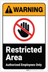 Warning: Restricted Area with Icon ANSI Portrait - Label