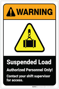 Warning: Suspended Load Authorized Personnel with Icon ANSI Portrait - Label