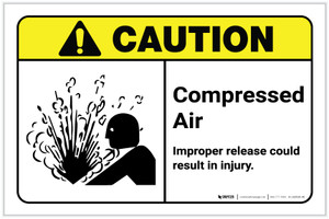 Caution: Compressed Air - Improper Release Could Result in Injury ANSI Landscape - Label