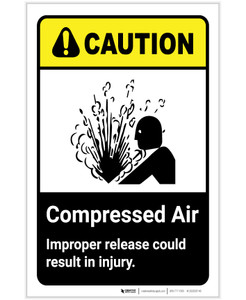 Caution: Compressed Air - Improper Release Could Result in Injury ANSI Portrait - Label