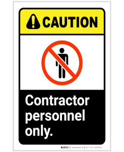 Caution: Contractor Personnel Only ANSI Portrait - Label