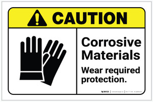 Caution: Corrosive Materials - Wear Required Protection ANSI Landscape - Label