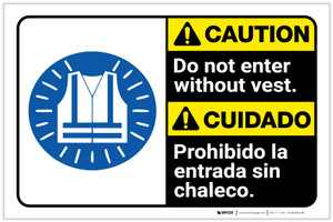 Caution: Do Not Enter Without Vest with Icon Bilingual ANSI Landscape - Label