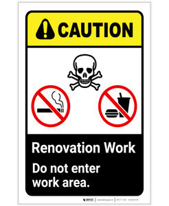Caution: Renovation Work - Do Not Enter Work Area with Icon ANSI Portrait - Label